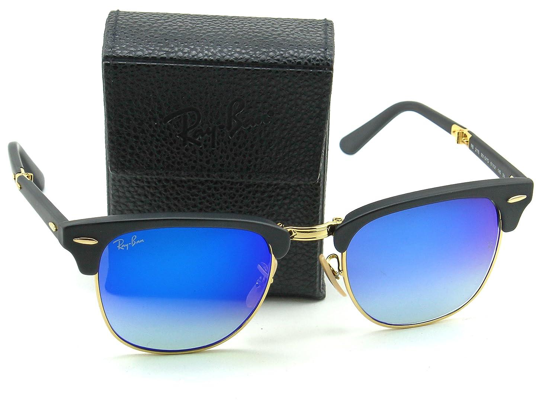 150cd69609 Amazon.com  Ray-Ban RB2176 Folding Clubmaster Flash Gradient Unisex  Sunglasses (Matte Black Frame Blue Mirror Gradient Lens 901S7Q