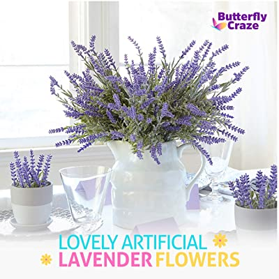 Buy Butterfly Craze Artificial Lavender Plant 8 Piece Bundle Lifelike Faux Silk Flowers For Weddings Crafting Kitchen Decor Or Rustic Home Decor Indoor Outdoor Use Online In Guatemala B01d5uo3ta