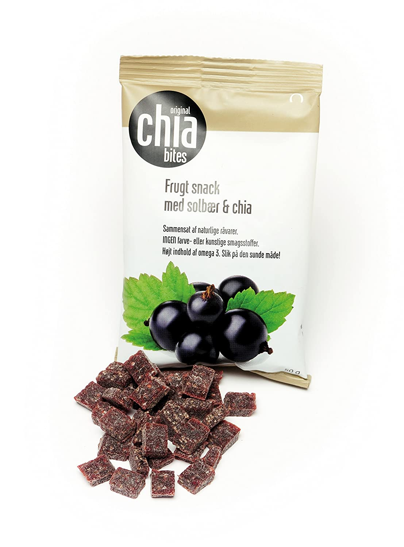 Original chia bites- Snack saludable, con frutas del bosque, sin azúcares añadidos con semillas de chia. Bolsas de 50 gr. Cajas de 20 uds.
