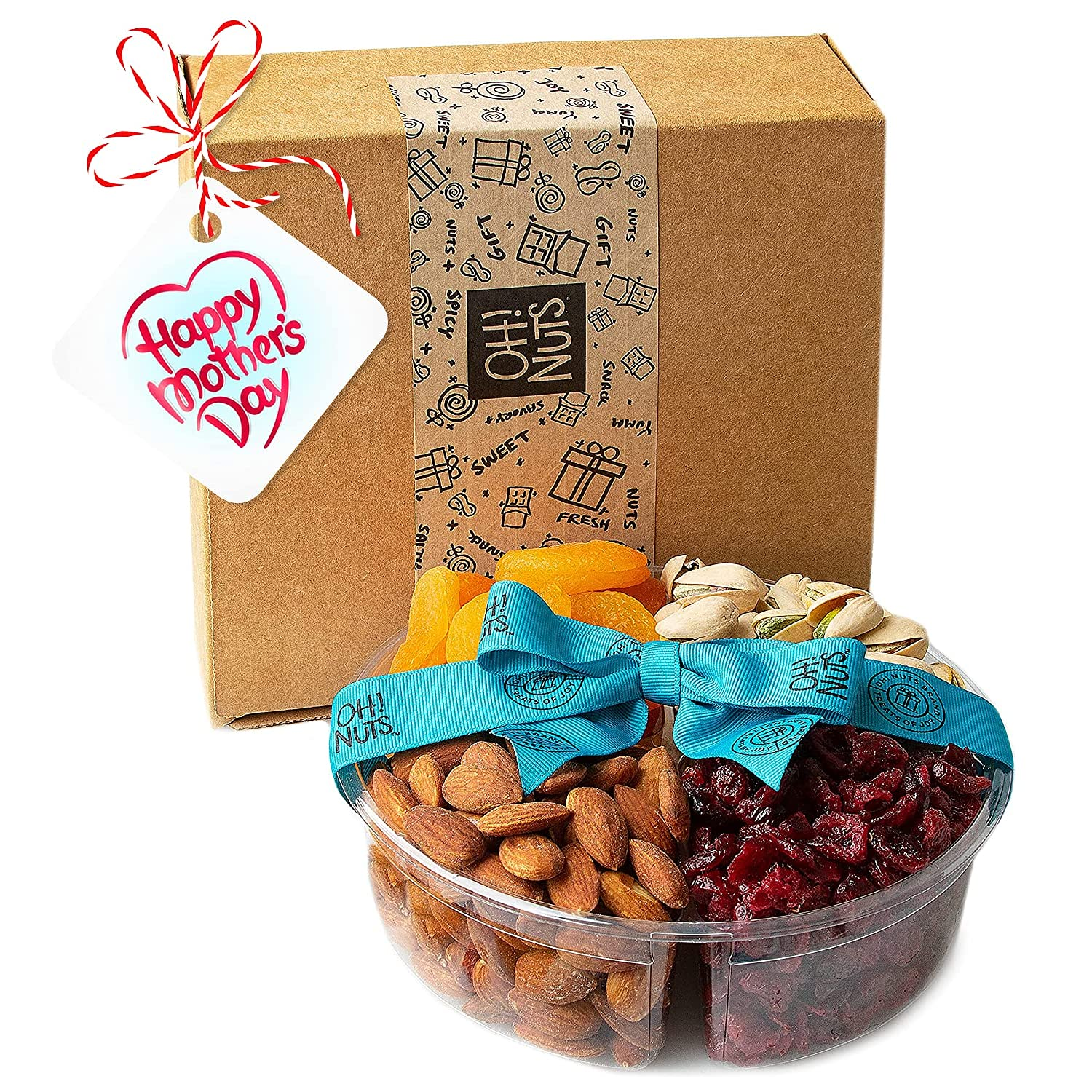 Oh! Nuts 4 Section Sweet Dried Fruits & Nuts Gift Platter for Mothers Day, Healthy Food Kosher Snack Box, Variety Fresh Assortment Tray, Perfect Healthy Gift for Mothers Day Gifting Idea