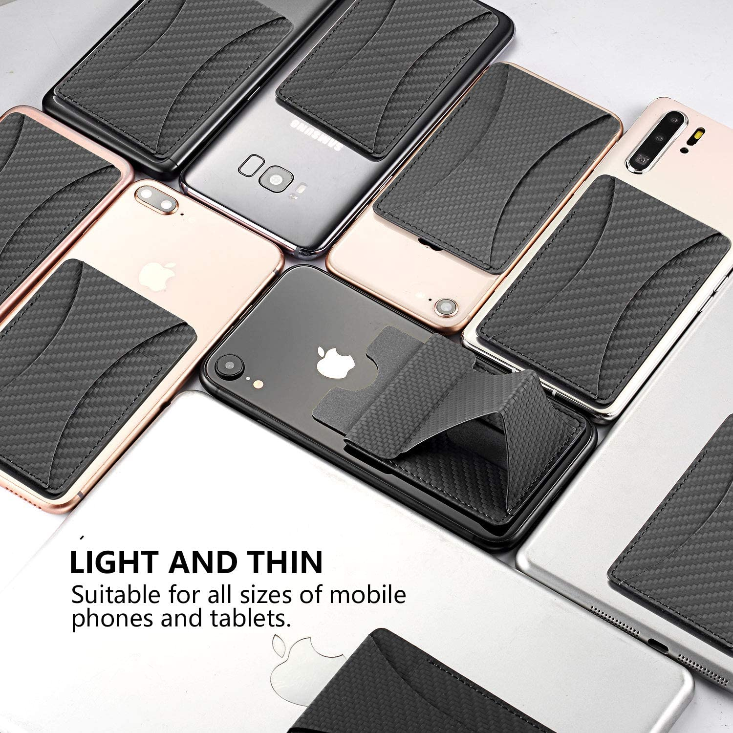 Black MissCat Phone Card Holder Ultra Slim Foldable Pocket Tripod Invisible and Foldaway Phone Stand for iPhone 8//8Plus//11//11Pro Android Universal Smartphones Phone Wallet with Card Slot