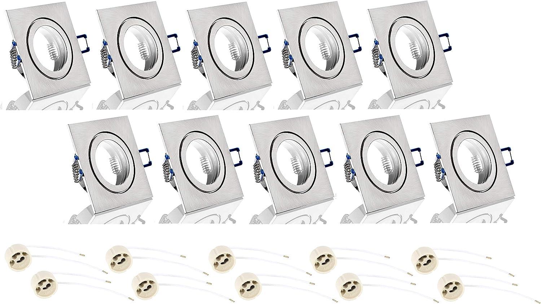 Juego de 10 focos empotrables de aluminio (IP44, GU10, con cierre de clic y cubierta de cristal, para ambientes húmedos, cuadrados, hierro cepillado)