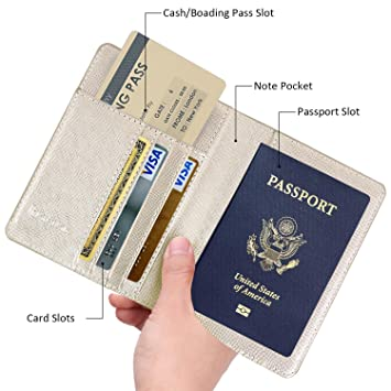 20791b5fd49f Leminimo Leather Passport Cover Case With RFID Blocking - Gold Passport  Holder Travel Wallet