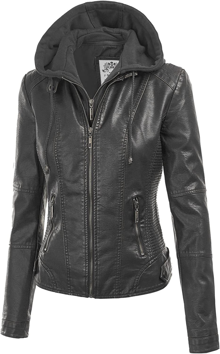 Made By Johnny WJC1044 Womens Faux Leather Quilted Motorcycle Jacket with Hoodie M Black