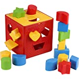 Baby Blocks Shape Sorter Toy - Childrens Blocks Includes 18 Shapes - Color Recognition Shape Toys With Colorful Sorter Cube B