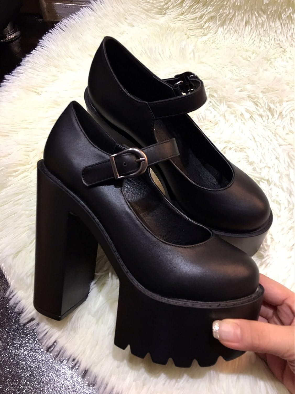 LvYuan / Frauen Fersen / LvYuan Lackleder / Büro & Karriere / Plattform Chunky Ferse / Mode / Walking Gürtelschnalle Schuhe schwarz b7b1f5