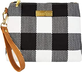 6edf53e7bfe0 Black and White Buffalo Check Plaid Gingham Clutch Bag with Water Resistant  Lining
