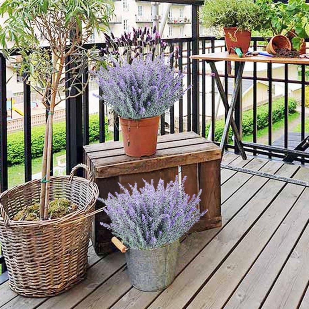 Leyaron 6 Bundles Artificial Lavender Bouquet Fake Lavender Bunch Purple Lavender Flowers Artificial Plant for Wedding, Home Decor, Office, Garden, Patio Decoration