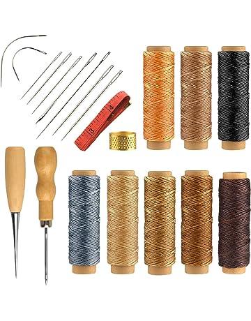 FEPITO 21 Piezas Hilo encerado de cuero con kit de herramientas manuales de cuero para manualidades