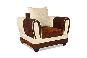 Rajgarhwala Furnitures Cream and Brown Single Seater Sofa