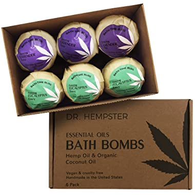 Bath Bombs Essential-Oil Vegan Gift-Set - Organic Moisturizing Coconut and Hemp Oils with a Blend of Refreshing Eucalyptus and Soothing Lavender – Scented, with lots of Lush Fizzle, (6 Pack) 4 oz