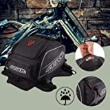 Tank Bag,Motorcycle Tank Bag Waterproof with Strong Magnetic,PU Leather Motorcycle Bags with Rain Cover and Enhancement Straps for Honda Yamaha Suzuki Kawasaki