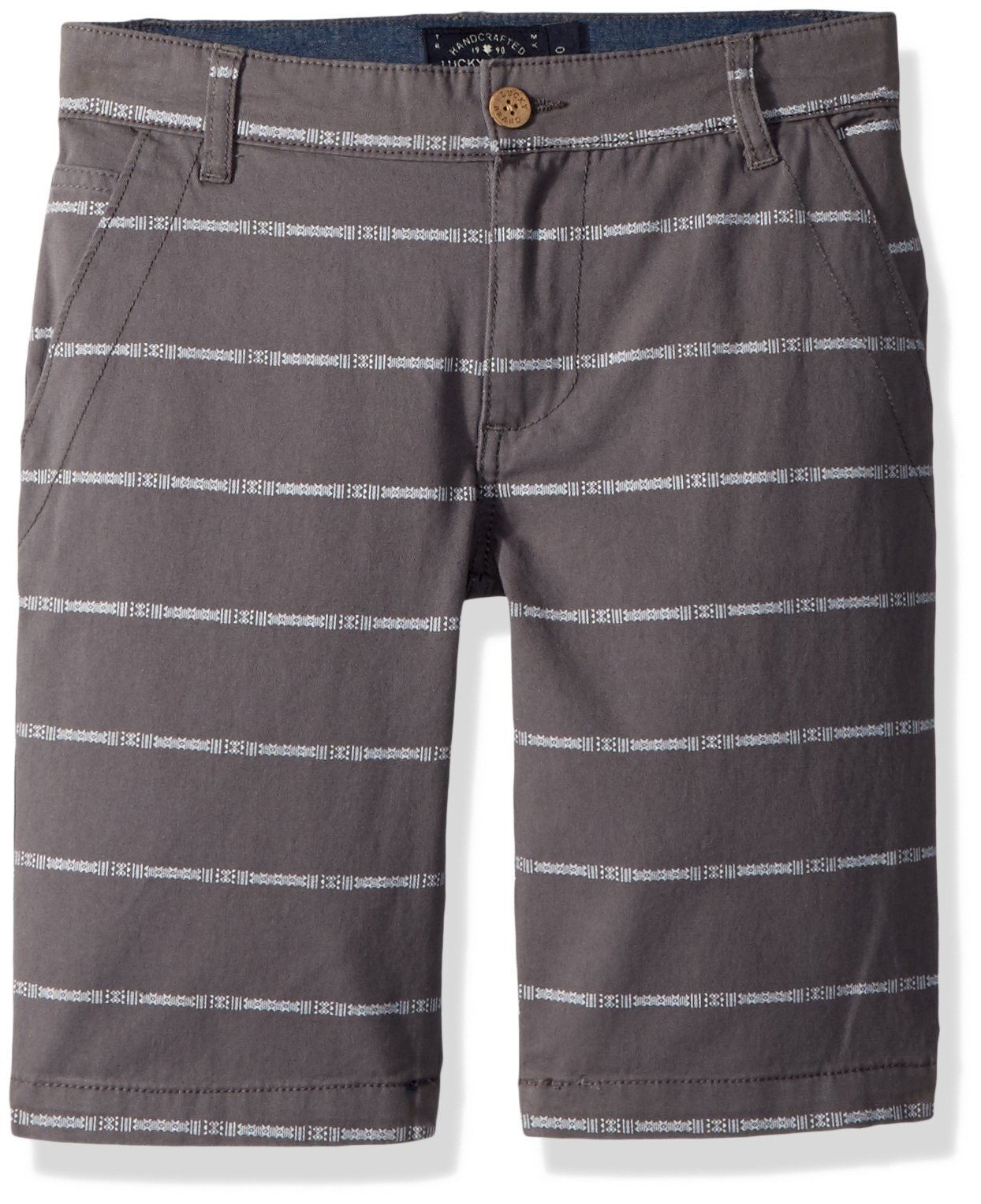 Lucky Brand Toddler Boys' Twill Shorts, As is Grey Mini Stripe, 3T