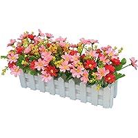 Flikool Margarita Flores Artificiales con Valla Faux Crisantemo