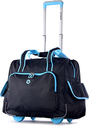 Olympia Deluxe Fashion Rolling Overnighter, Black Blue, One Size