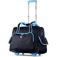 Olympia Deluxe Fashion Rolling Overnighter, Black/Blue, One Size