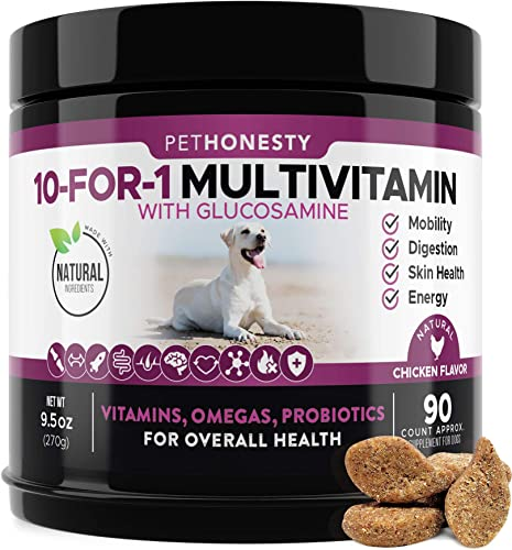 10 in 1 Dog Multivitamin with Glucosamine – Essential Dog Vitamins with Glucosamine Chondroitin, Probiotics and Omega Fish Oil for Dogs Overall Health – glucosamine for dogs joint supplement heart