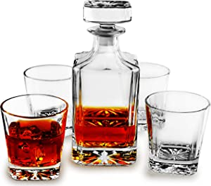 Circleware Royal 5-Piece Set Wine Decanter with 4-Whiskey 11 oz Glasses Drinking Glassware Carafe Pitcher All-Purpose for Water, Liquor, Beverage, Beer Bar Barrel Dining, 26 oz, Clear