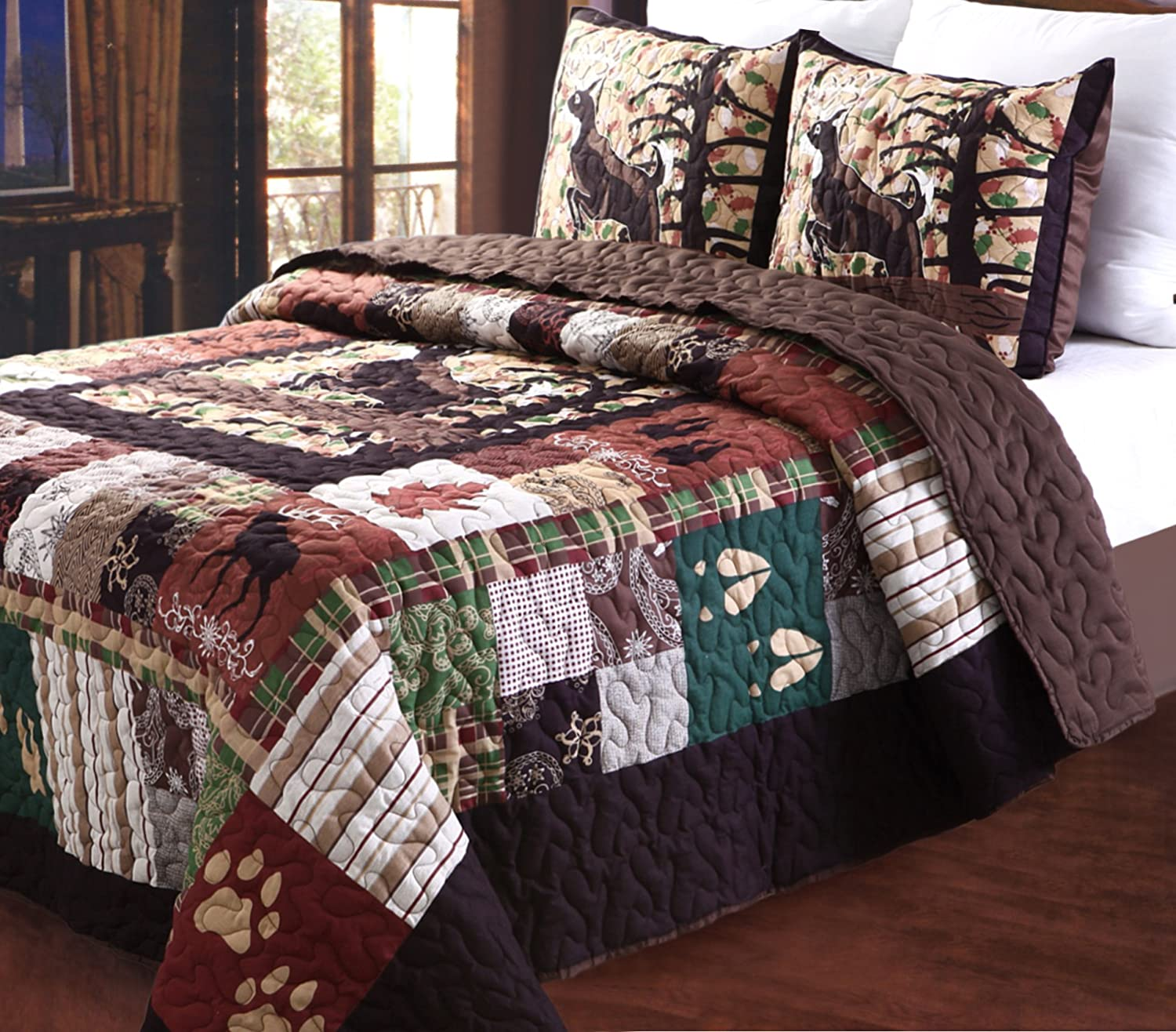 Charmant Amazon.com: Greenland Home 3 Piece Whitetail Lodge Quilt Set, Full/Queen:  Home U0026 Kitchen