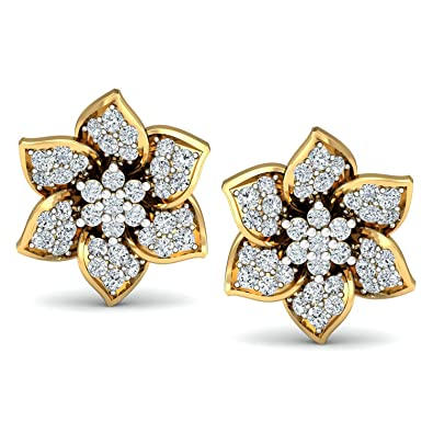 eb45bcd91 Buy Avnni By Nakshatra 18KT Yellow Gold and Diamond Stud Earrings for Women  Online at Low Prices in India | Amazon Jewellery Store - Amazon.in