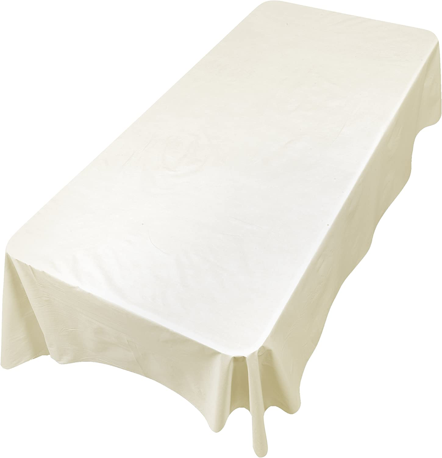 """Carnation Home Fashions SFLN-108/08 Vinyl Tablecloth with Polyester Flannel Backing, 52"""" x 108"""", Ivory"""