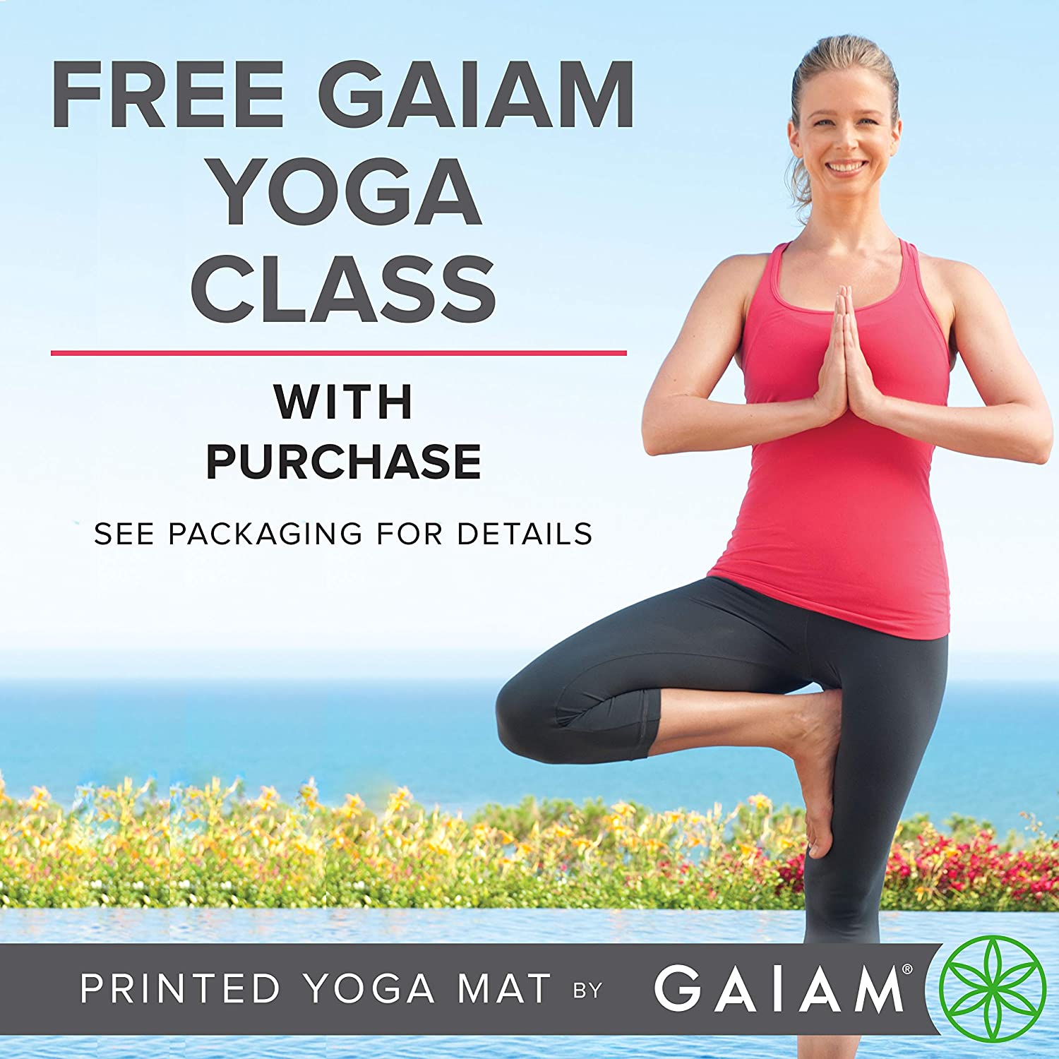 Gaiam -Estera de Yoga con Impresion Premium, Reversible, Color,