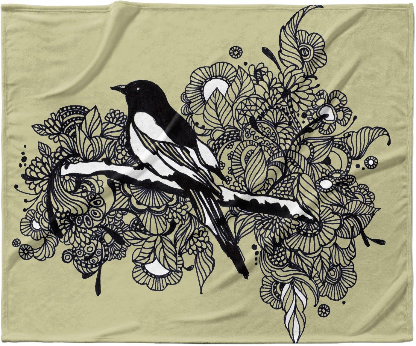 40 x 30 Kess InHouse Sonal Nathwani Magpie Tan Bird Fleece Throw Blanket