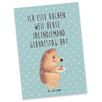 Amazon De Mr Mrs Panda Postkarte Igel Mit Kuchenstuck Igel