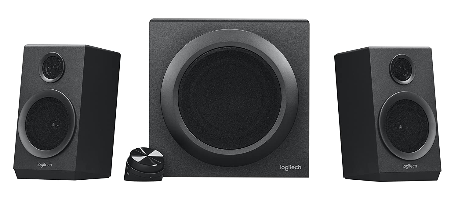 Logitech Z333 2.1 Speakers Easy-access Volume Control, Headphone Jack PC, Mobile Device, TV, DVD Blueray Player, and Game Console Compatible