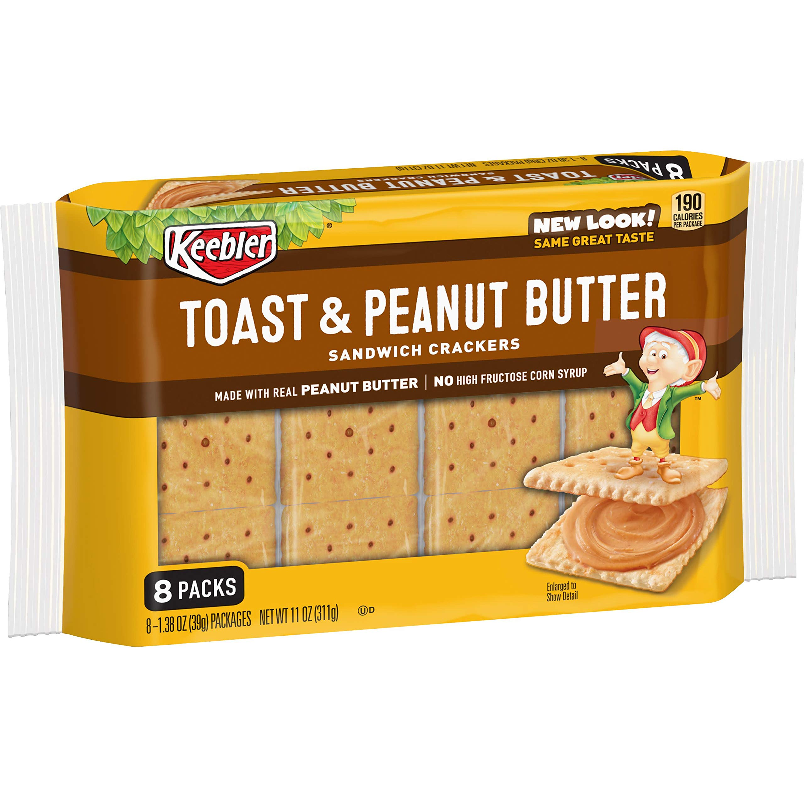 Keebler Toast and Peanut Butter Sandwich Crackers, Single Serve, 1.38 oz Packages(8 Count)(Pack of 12) by Keebler