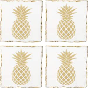 Amazon Com Home Essentials Square Pineapple Marble Coasters With Gold Edge Set Of 4 Home Kitchen