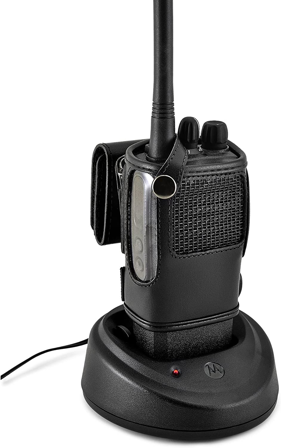 Black Leather Pouch with Heavy Duty Rotating Ratcheting 2.25 Belt Loop Made in USA Turtleback Carry Holder for Tytera TYT MD-2017 Fire and Police Security Two Way Radio Belt Clip Holster Case