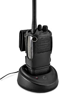 """product image for Turtleback Carry Holder for CP200d Fire and Police Security Two Way Radio Belt Clip Holster Case, Black Leather Pouch with Heavy Duty Rotating Ratcheting 2.25"""" Belt Loop Made in USA"""