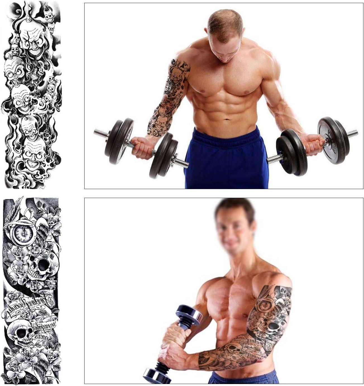 Arte Corporal Brazos Completos tatuajes temporales Falsos, Konsait Tatuajes Adhesivos temporales impermeable para Adultos hombre Mujer, Dragón ...