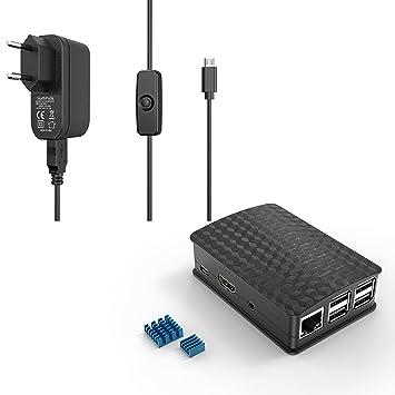NorthPada Raspberry Pi 3 Model B B+ 5V 3A Cargador Alimentación + Caja Case + 2 x Disipador de Calor de Aluminio + Cable con Micro USB 120CM ON / OFF ...