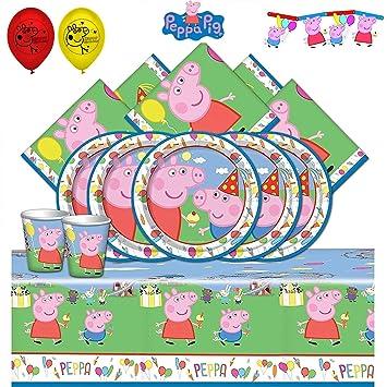 Booghe Peppa Pig Carnival - Kit de Fiesta de cumpleaños Infantil con Suministros de vajilla para 8,16, 24 o 32 Invitados (Deluxe Kit For 32 Guests)