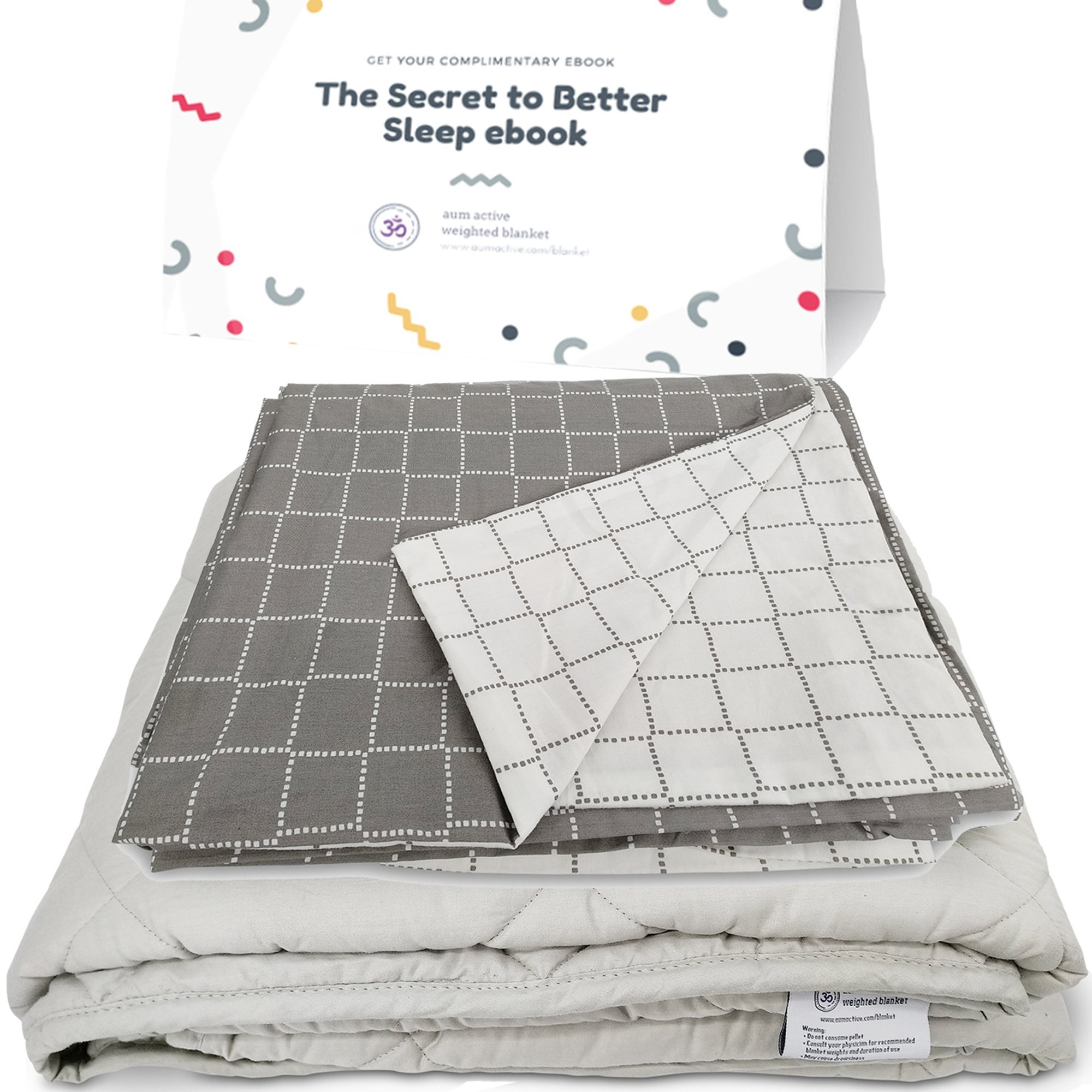 Weighted Blanket for Anxiety & Sleep - include Premium Cotton Cover & free Sleep Improvement ebook - Sensory Therapy Blanket for Adult & Kids with Insomnia, Restless Legs, Autism (59x78'', 20lbs) by Aum Active