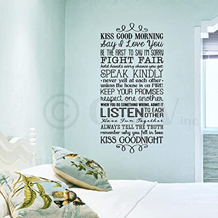 Kiss Me Good Morning...Kiss Me Good Night Wall Saying Vinyl Lettering Home