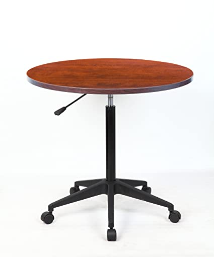 Boss Mobile Round Table, 32 Inch, Cherry