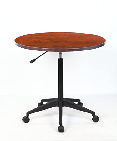 Superior Boss Mobile Round Table, 32 Inch, Cherry