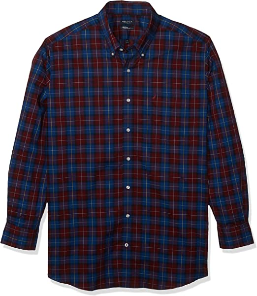 Nautica Mens Big and Tall Long Sleeve Large Plaid Button Down Shirt