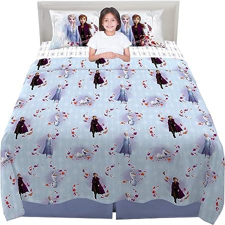Juego de s/ábanas de algod/ón para cama individual de 1 plaza estampado con motivo de Frozen
