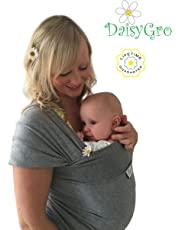 •NEW CANADA RELEASE!• DaisyGro™ Breathable Soft Cotton Baby Wrap Carrier, Baby Sling, Nursing Cover, Grey, Regular Size 0-12