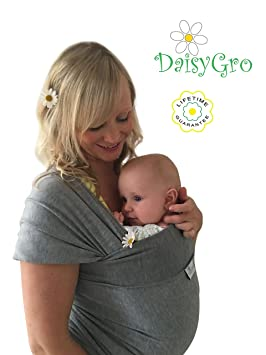 •NEW CANADA RELEASE!• DaisyGro™ Breathable Soft Cotton Baby Wrap Carrier,  Baby Sling, Nursing Cover, Grey, Plus Size 14+