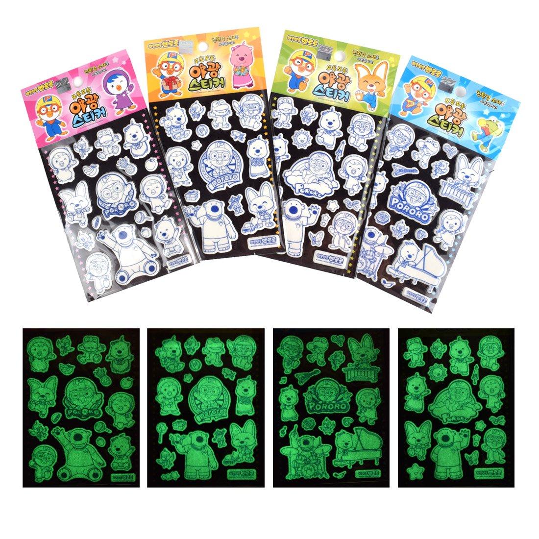 Pororo the Little Penguin Luminous Puffy Sticker JD11-213 Bundle of 4 Sheets Daelim Enterprise 4336988019