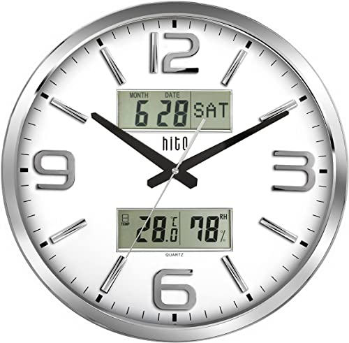 hito Silent Wall Clock Non Ticking 16 inch Large Oversized Date Day Indoor Temperature Humidity, Excellent Accurate Sweep Movement Silver Frame Glass Cover 16 inches, Chrome LCDs