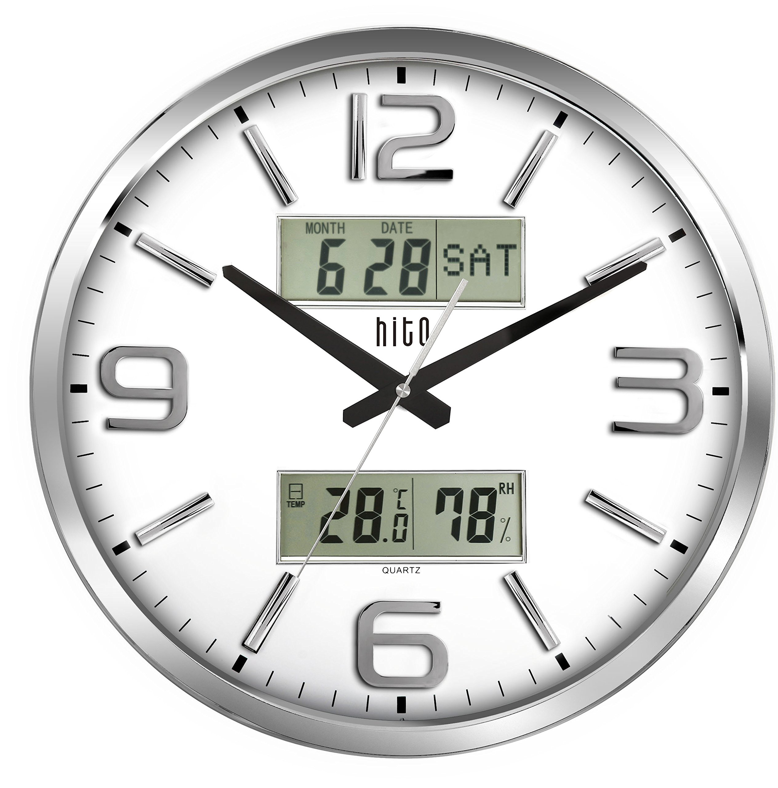 hito Silent Wall Clock Non ticking 16 inch Large Oversized Date Day Indoor Temperature Humidity, Excellent Accurate Sweep Movement Silver Frame Glass Cover (16 inches, Chrome+ LCDs)