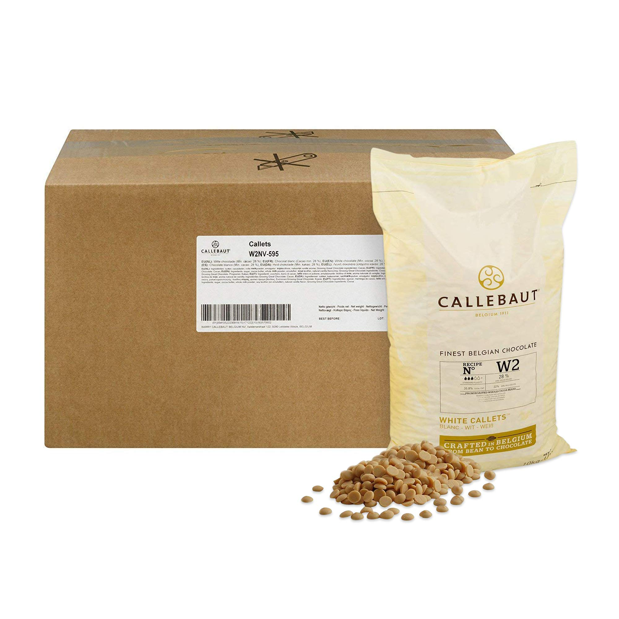 Callebaut Belgian White Baking Chocolate Callets - 29.5% Cocoa Butter, 0% Fat Free Cocoa, 6.3% Milk Fat, 16.7% Fat Free Milk - Good For Cakes, Mousse, Truffle, Fillings & Dipping - 22 Lbs