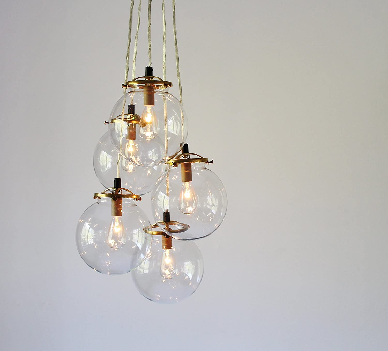 Glass Globe Cluster Chandelier, 5 Clear Hanging Orb Pendants