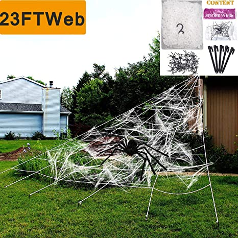 Camlinbo Halloween Decorations Outdoor Giant Spider Web Props Scary Large  Fake Spiders and Stretch Cobwebs Decor Yard Lawn Roof Window Mega  Triangular